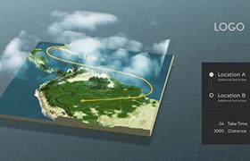 AE三维空间世界地图标记定点连线动画工程模板
