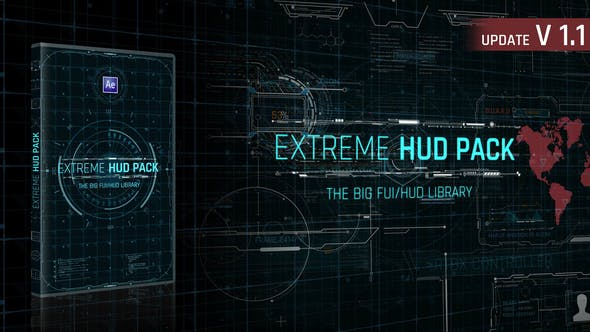 AE插件模板未来数字科技感华丽HUD动态图形UI界面元素动画 Extreme HUD Pack v1.1