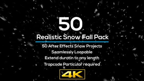 AE 50种下雪天气真实雪花飞舞场景合成特效Realistic Snow Falls Project Pack模板
